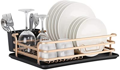 NEX Aluminum Dish Drying Rack, Compact Dish Rack with Cutlery Holder, Removable Drainer Tray, Rose Gold