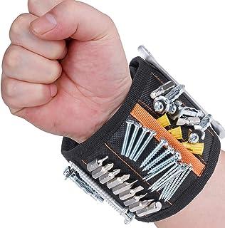 Rovtop Bracelet Magnétique Réglable avec 15 Aimants Super Puissants Bracelet avec Aimants pour Vis, Clous, Boulons et Peti...