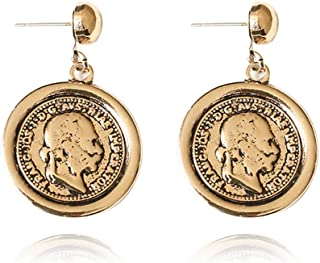 Statement Drop Earrings Gold Metal Human Face Carved Coin Shape Dangle Earring