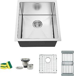 TORVA 17-Inch Undermount 16 Gauge Stainless Steel Single Bowl Kitchen Sink, Wet Bar/Prep Sinks, Suit for 20