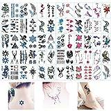 Huture 60 hojas resistentes al agua, tatuajes temporales para mujeres, negro y multicolor, tatuajes geométricos, tatuajes falsos boho tatuajes para espalda, piernas y piernas