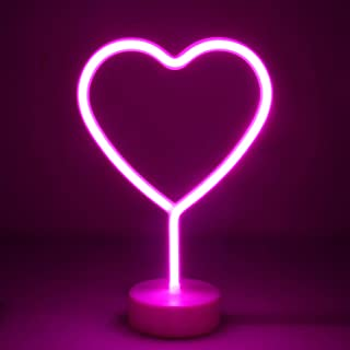 OYE HOYE LED Heart Shaped Neon Night Ligh with Holder Baset, Neon Signs with Pink-Warm Lamp Home Decor Ideal for Bedroom, ...