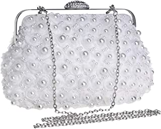 Ladies Fashion Beaded Embroidery/flower/crystal Rhinestone/chain Evening Banquet Bag Dress Clutch Bag Shoulder Messenger Bag. jszzz (Color : White)