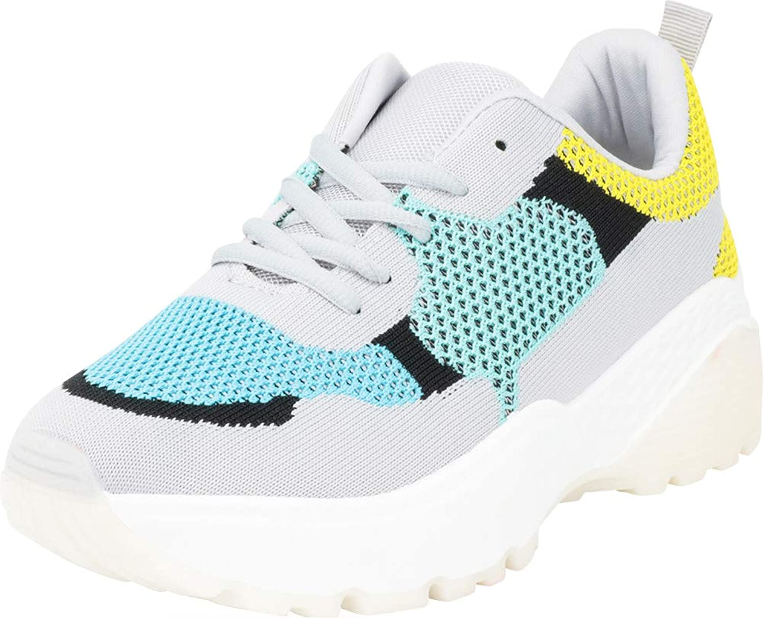 Cambridge Select Women's Retro 90s Ugly Dad Mesh colorblock Chunky Lace-Up Fashion Sneaker