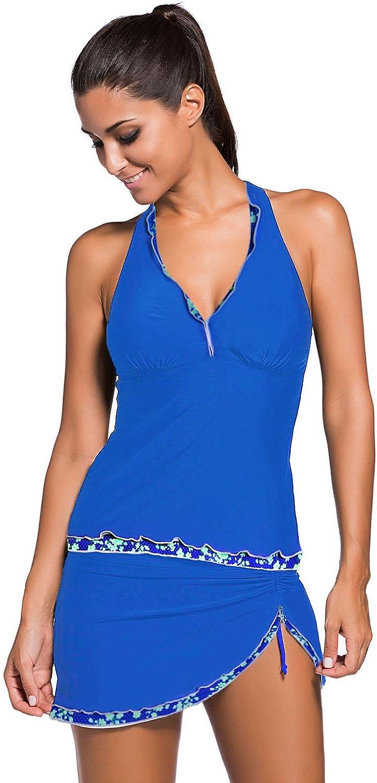 Asvivid Womens Halter Push Up Ruffle Tankini Top with Skirted Bikini Bottom Swimsuit Bathing Suit