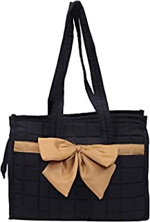Heart Home Cotton Women Hand Bag (Black) - CTHH21444
