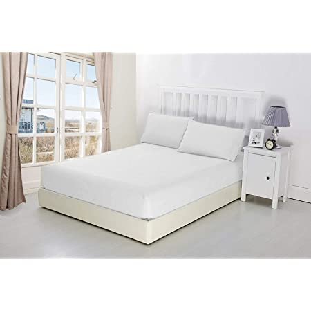"""NIYS Luxury Bedding Finest 100% Egyptian Cotton 10""""/25 CM Fitted Sheets (White, King)"""