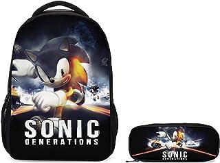 Mochila Sonic 2 uds nuevo conjunto de mochila escolar de dibujos animados Sonic Shadow para niños niñas adolescentes mochila para portátil chico bandolera estuche para lápices niños