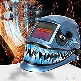 Hanbaili Casco de Soldadura, Shark Solar Power Oscurecimiento automático Welding Casco Weld Welder Grinding Face Mask