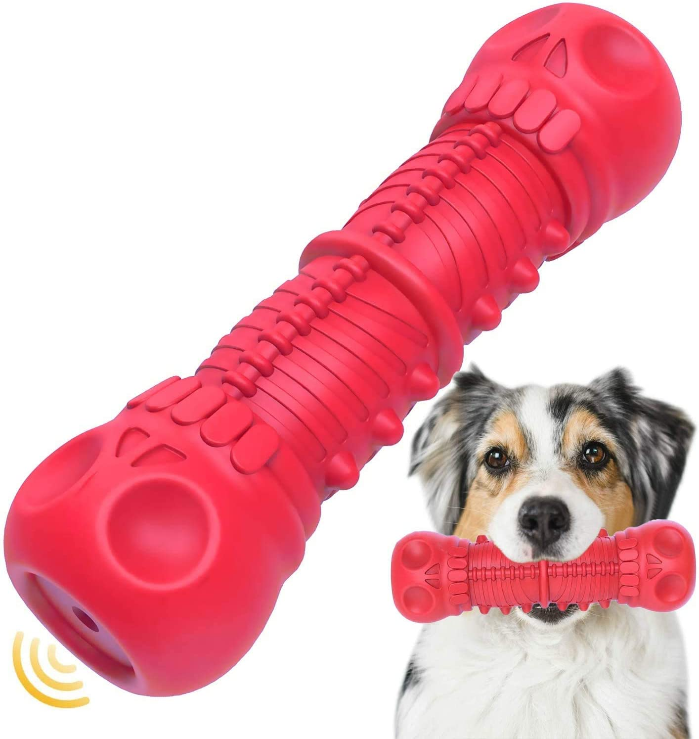 Dog Squeaky San trend rank Antonio Mall Toys Toughest Durable Rubber Chew Natural