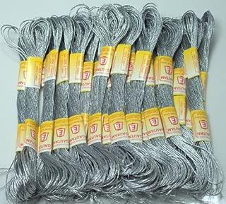 ThreadNanny New 24 METALLIC SILVER Skeins of 100% Cotton Metallic Thread for Hand Embroidery - THREADSRUS BRAND