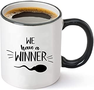 We Have a Winner Announcement Gifts – Funny Pregnancy Baby Reveal to Husband, Boyfriend or Fiancé – New Parents We Are Pregnant Gift Idea - Sperm Ceramic Coffee Tea Mug Cup 11oz White