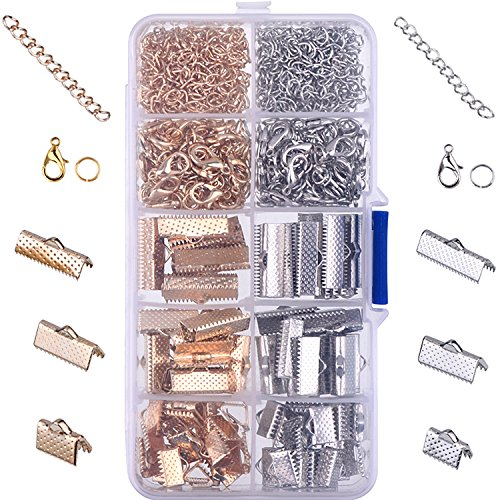 Ribbon Bracelet Kit Bookmark Pinch Crimp Ends Lobster Clasps with Jump Rings and Chain Extenders, 370 Pieces (Multicolor A)
