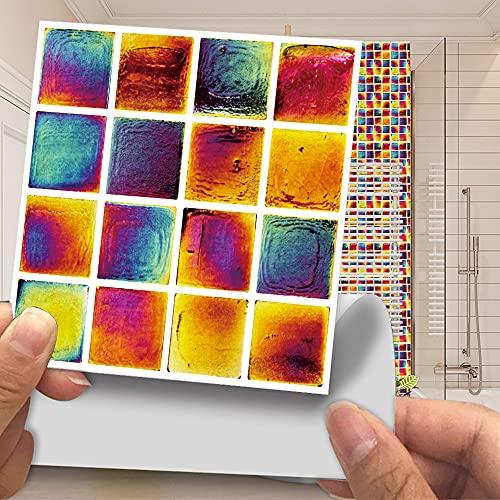 Azulejos de pared de mosaico 3D, papel tapiz de pegatinas de pared de película brillante recubierto de PVC, decoración autoadhesiva extraíble habitación cocina baño 20cm*20cm 10 piezas JHXC167