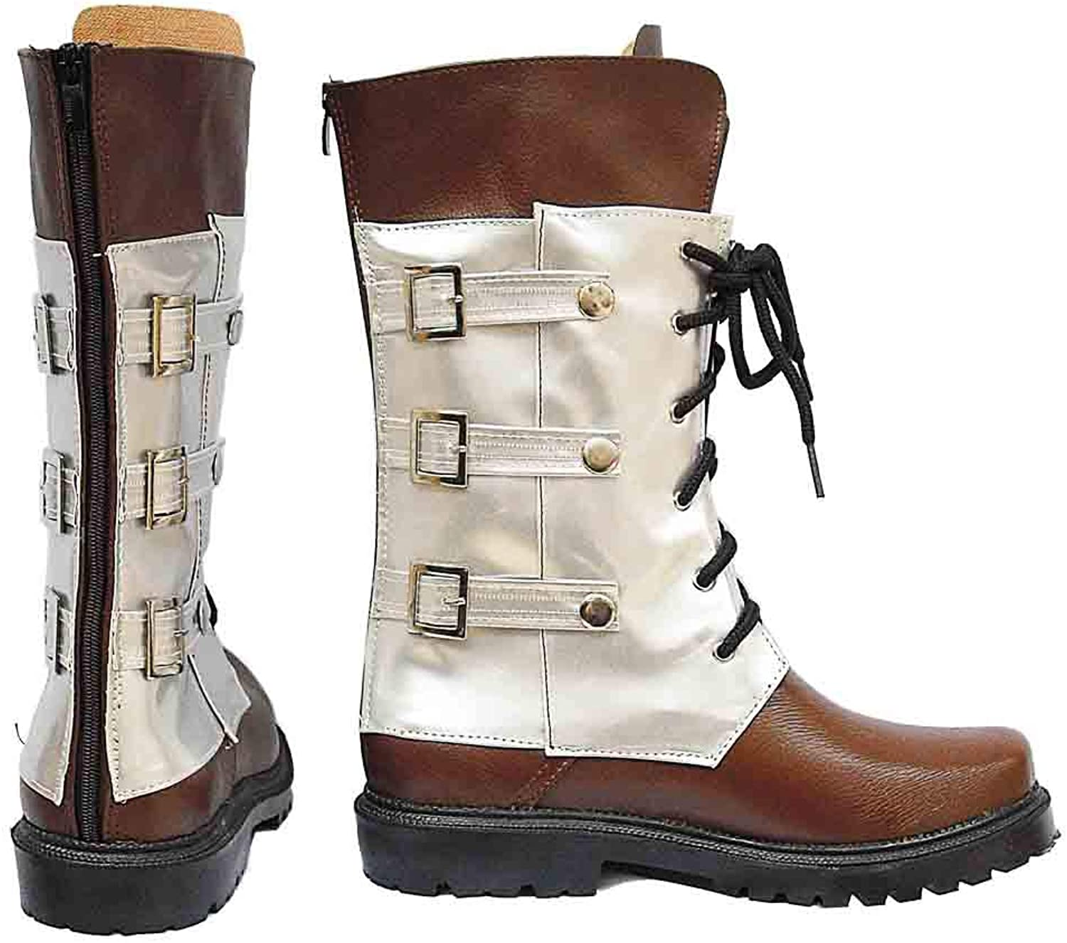 PinLian Mens FF XIII Snow Villiers Cosplay Lace Middle Boots Halloween Leather shoes (UK 10)