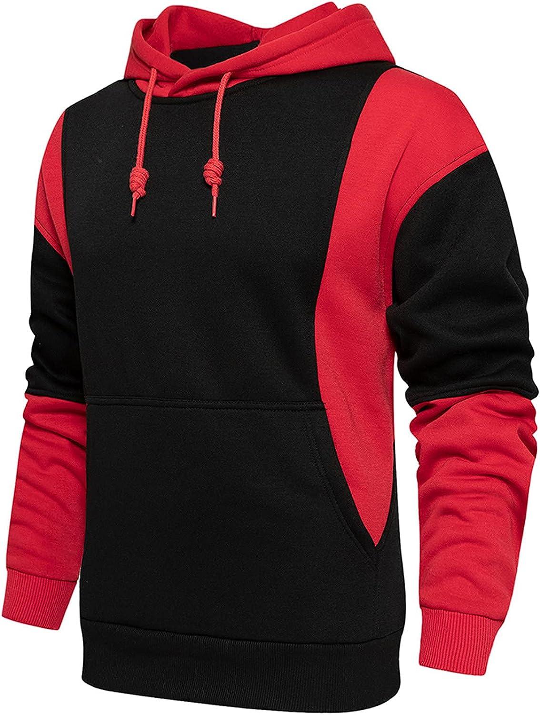FORUU Mens Zip Up Hoodies 2021 Fall Winter Slim Hoodie Sweatshirts Casual Patchwork Hoodie Pullover Essentials Hoodie
