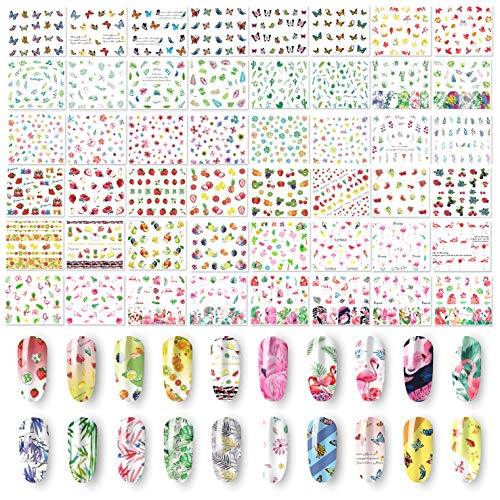 48 Sheets Summer Nail Art Stickers - Water Transfer Flamingo Butterflies Fruits Flowers Leaves StencilDecals for Women Kids Manicure DIY or Salon  (1500+Pcs)