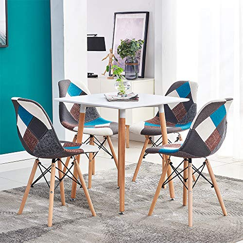 Huisen Furniture Small Dining Table and Patchwork Chairs Set of 4, 5 Pieces Kitchen White Wooden Dining Room Table with 4 Fabric Colorful Chairs for Small Apartment