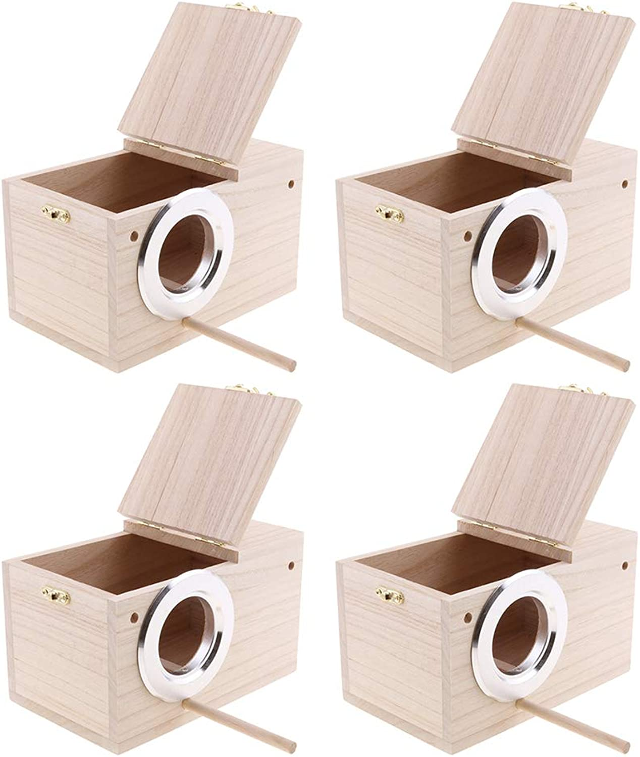 Fenteer 4Pcs Wooden Budgie Nest Nesting Box & Perch for Cage Aviary with Opening Top