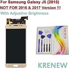 KRENEW Touch Screen Replacement Digitizer Glass LCD & Repair Tools Kit for Samsung Galaxy J5 2015 J500 J500F J500FN J500G J500H J500M J500Y (Golden + Adjustive Brightness)