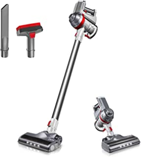 Cordless Vacuum, Deik Stick Vacuum Cleaner, Lightweight 2 in 1 Handheld Rechargeable Vacuum with Powerful Suction and LED Brush for Home and Pet Hair Cleaning (Silver)