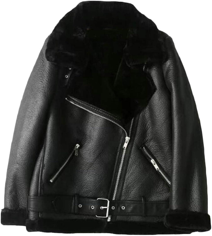 XQS Womens Outdoor Trucker FauxLeather PU Zipper Moto Thicken Faux Fur Lined Jackets