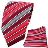 schöne TigerTie Designer Krawatte + Einstecktuch rot verkehrsrot tomatenrot creme grau gestreift