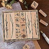 Lychii Legno Timbro Set in Gomma, 20pcs Timbro in Legno Vintage, Piante per Naturale Decorare Libri Diario e Carte di Festival, DIY Biglietti e Scrapbooking (Flowery)