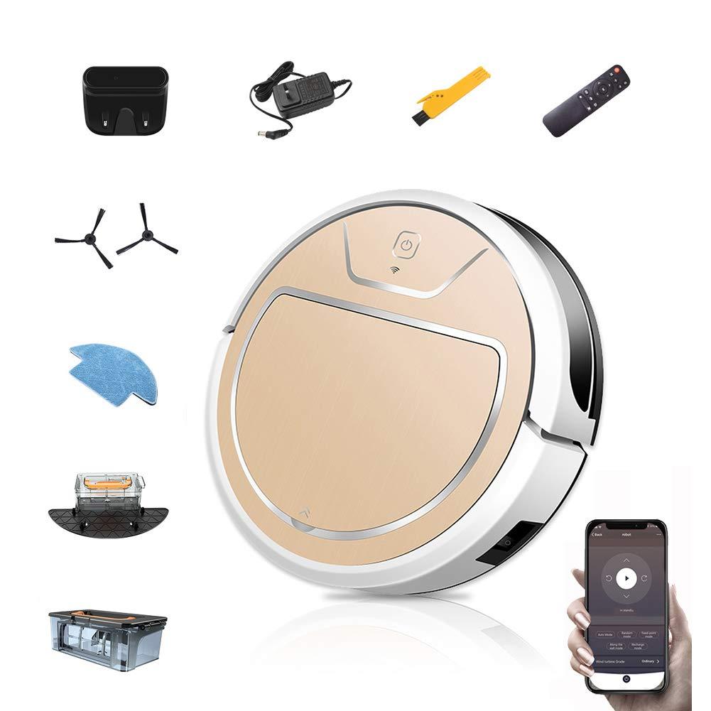 Liuwenju Robot Aspirador, 2000Pa con Control de aplicación de Barrido y trapeado, autocarga, Limpia Pisos Duros y alfombras de Pelo Mediano para el Cabello de Mascotas (Dorado): Amazon.es: Hogar