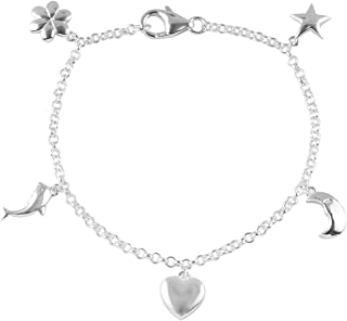 Charm Bracelet for Women 925 Sterling Silver Sea Shell Star Seahorse Fish Foot Jewelry Adjustable 7.25