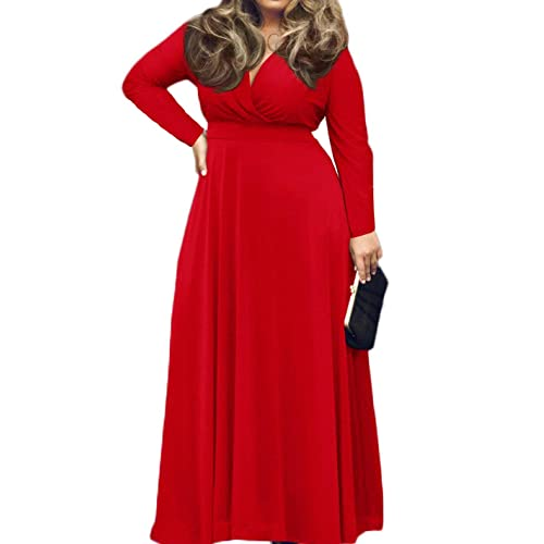 9df15c172c1 POSESHE Women s L-4XL Solid V-Neck Long Sleeve Plus Size Maxi Dress