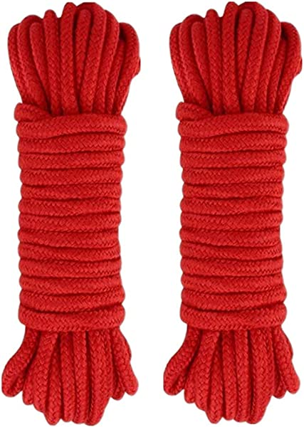 WYSUMMER Black Soft Rope Cord 2Pcs 10 M 33 Feet 8 MM All Purpose Cotton Rope Craft Rope Thick Cotton Twisted Cord Red