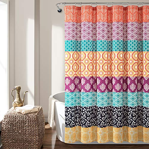 "Lush Decor Bohemian Stripe Shower Curtain, 72"" x 72"", Fuchsia & Orange"