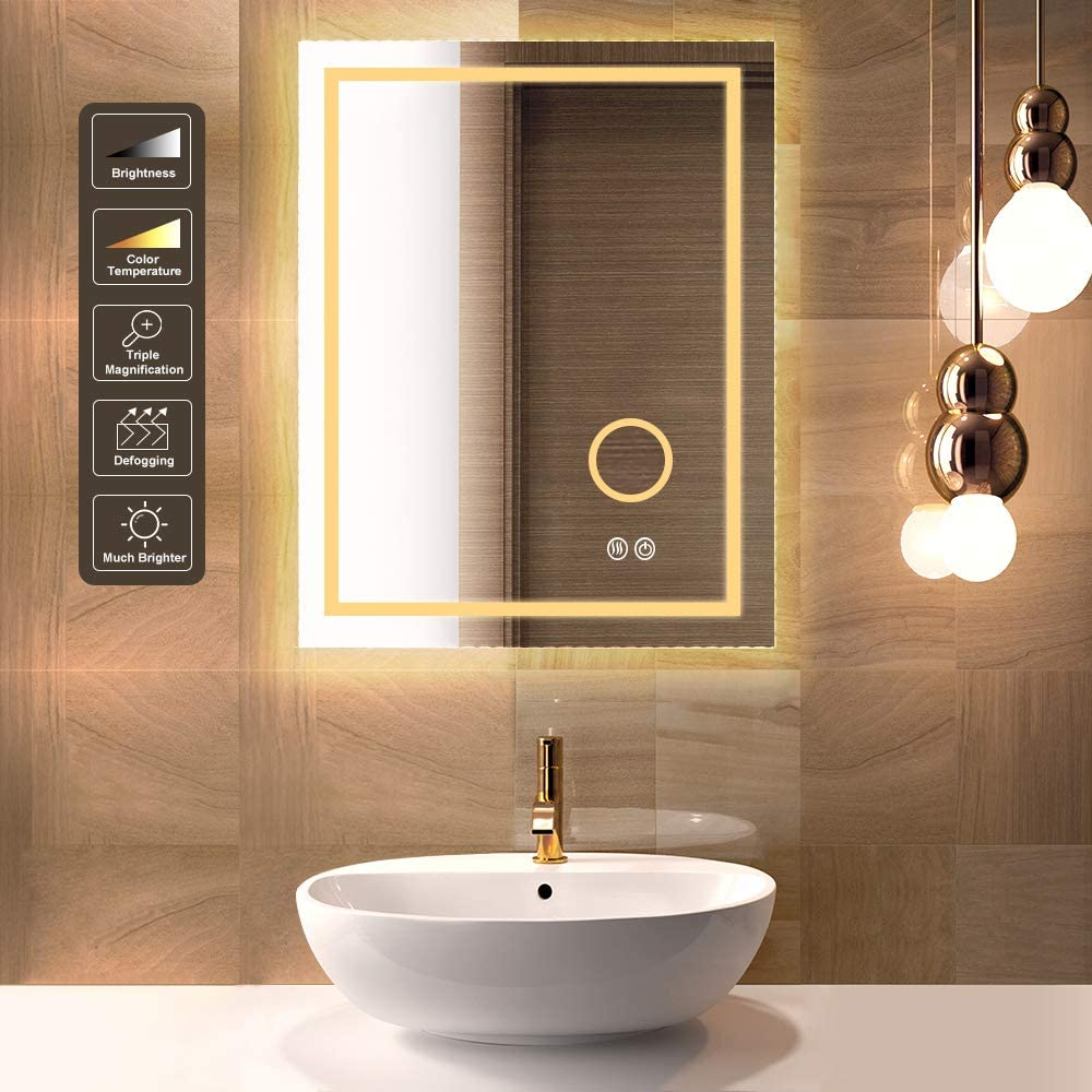 Popular standard HueLiv 36x28 Inch LED Excellence Bathroom Vanity with Mag Lights 3X Mirror