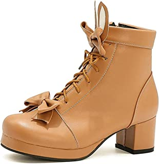 Women's Bow Mid Chunky Heel Boots, Lace Up Waterproof Anti-Slip Outdoor Ankle Booties