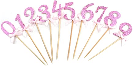 uxcell Party Dessert Cupcake Numbers Shaped Toothpicks Craft Picks Topper 10 in 1 Pink