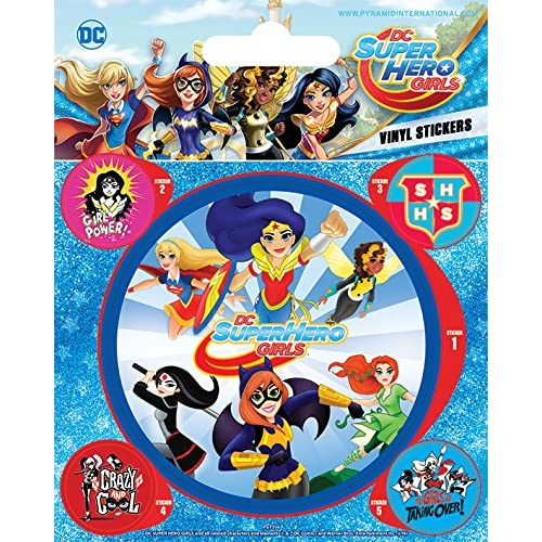 Pyramid International - Adesivi in vinile DC Super Hero Girls (Attack), multicolore, 11 x 12,5 x 1,3 cm