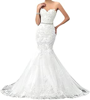 28e4aa0d8a 20KyleBird Women s Sweetheart Strapless Wedding Dresses Long Mermaid Lace  Bridal Dresses KB018