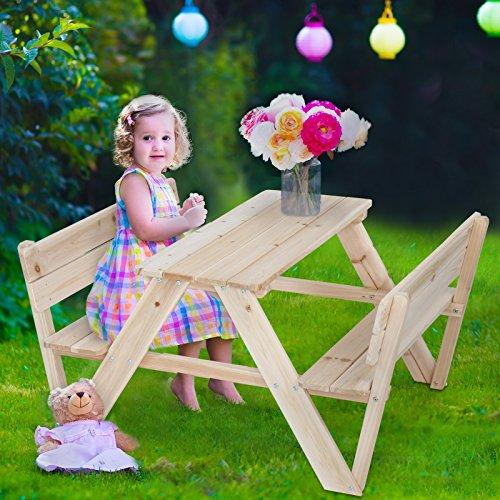 Infantastic Tavolino Tavolo da PIC nic Giardino Esterno Bambini Set Tavolo con panche Picnic di Legno di Cedro