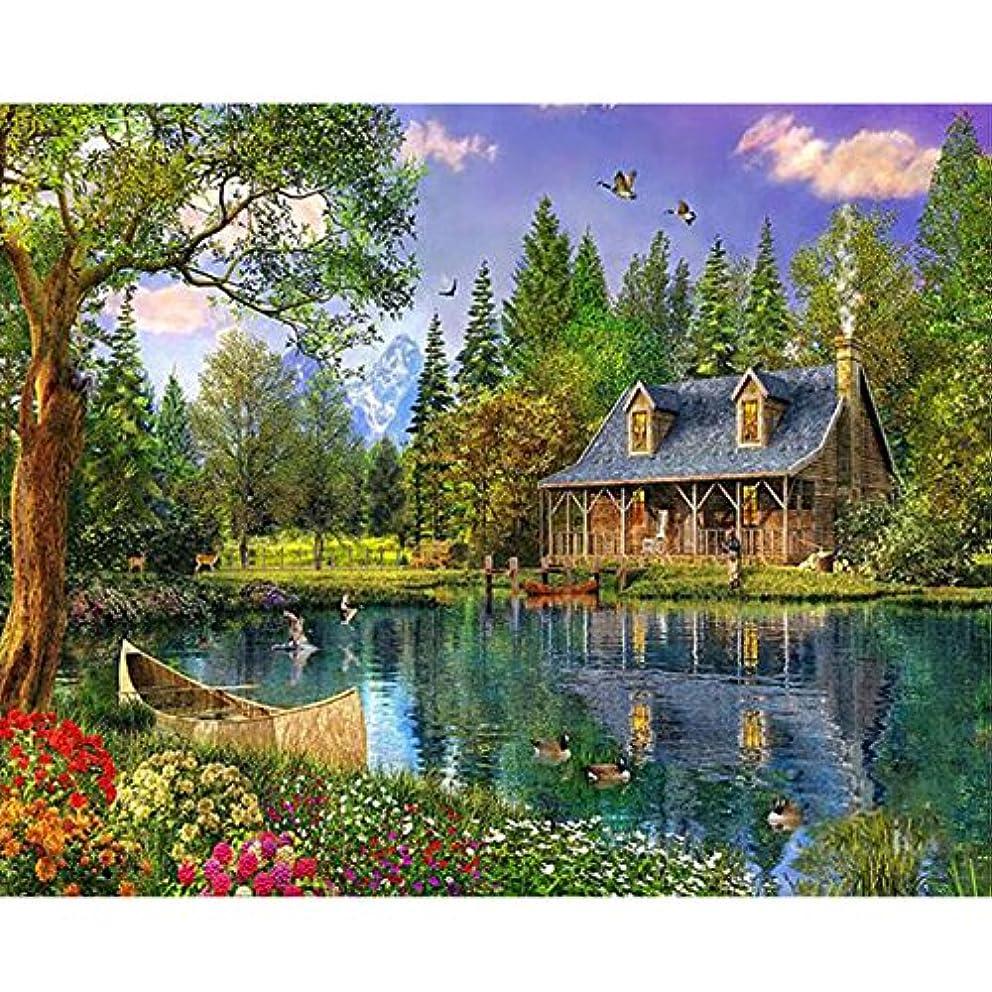 5D diamond embroidery coss-stitch kits lake cabin diamond mosaic painting paint pictures decor landscape craft jdprornme6