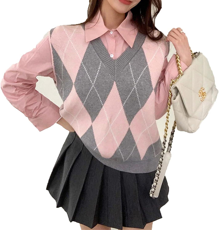 Autumn Korean Fashion V-Neck Women's Sweater Vest Sleeveless Knitted Pullovers Waistcoat Knitwear Tops