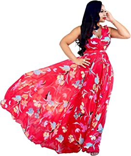 b42206337f Nuofengkudu Womens Stylish Chiffon V-Neck Printed Floral Maxi Dress with  Waisted Belt Plus Size