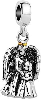 Q&Locket Mother Daughter Angel Prayer Charms Beads for Bracelets