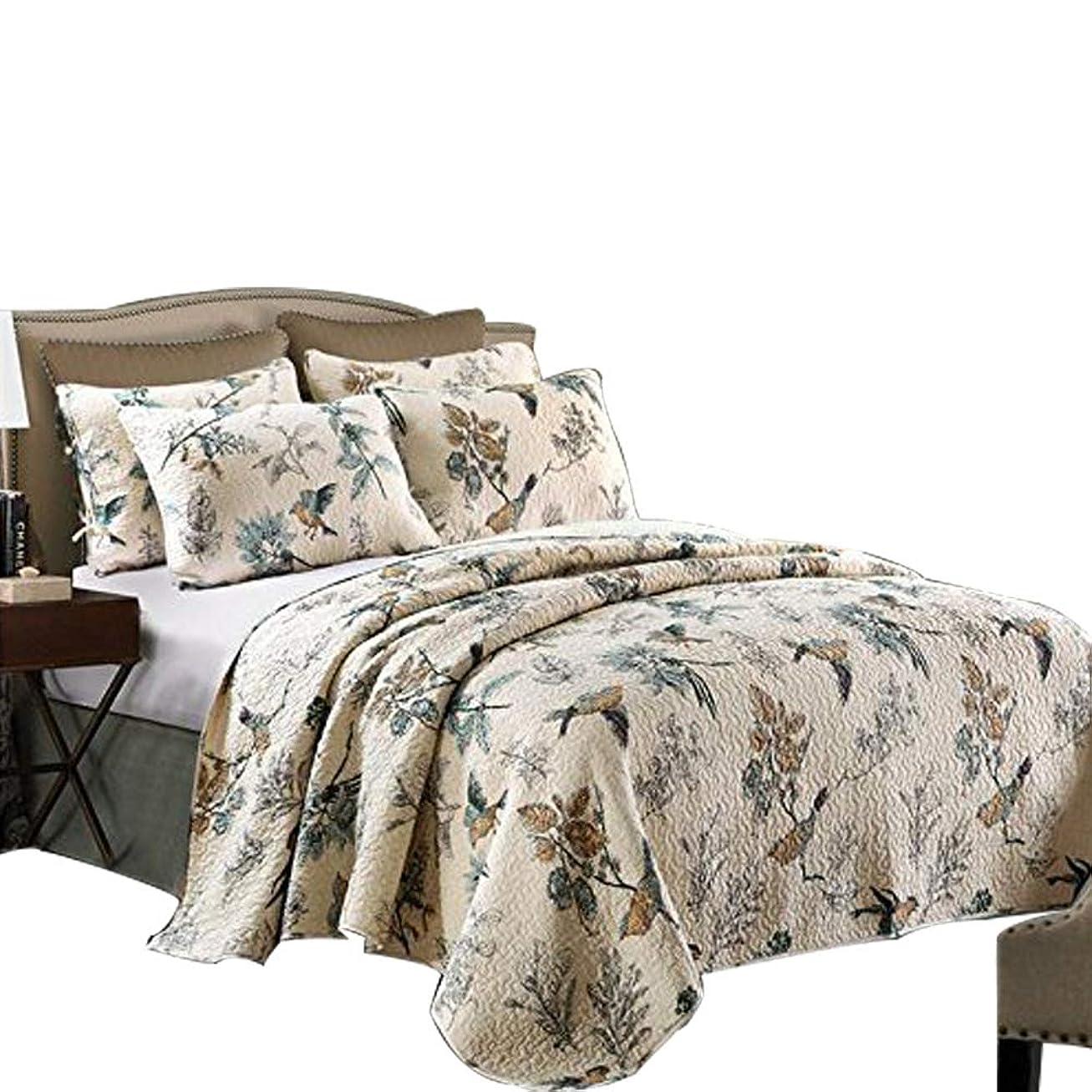 湿った不快な引退したベッドカバー ベッドスプレッド マルチ カバー キルト3点セット ダブル 綿100% (鳥柄, 230*250cm)