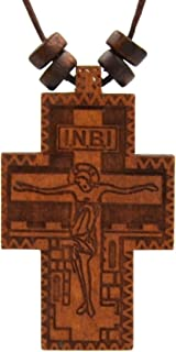 Russian Orthodox Cross Olive Wood Byzantine Crucifix with Prayer Pendant Hemp Cord Necklace, Nika, ICKC