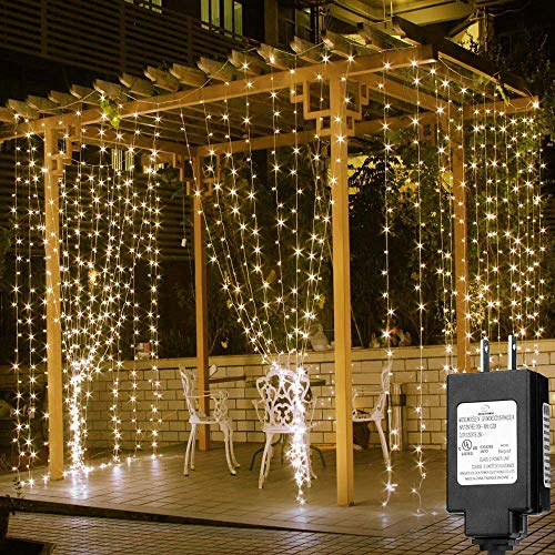 Solhice LED Curtain Lights Outdoor, 20x10ft, 600 LED, 8 Modes Plug in Twinkle Lights Patio, Indoor Window String Lights for Wedding Bedroom Party Back Yard Decorations, Warm White