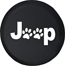 Spare Tire Cover Dog Paw Prints Animal Lover (Fits: Jeep Wrangler Accessories, SUV, Camper and RV) Black Size 35 Inch