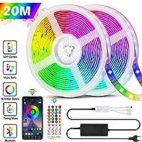 20M Bluetooth Striscia LED RGB 5050 600LEDs, Bluetooth 40 Tasti Telecomando, Funzione Musicale, Smart Controllo APP e Telecomando, per Decorazioni Cucina, Bar, Festa