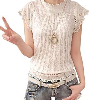 AKDSteel Ladies Loose Crochet Large Round Collar Fashion Lace Shirt