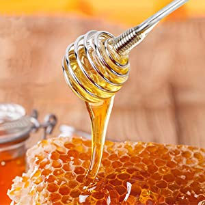 Honey Dipper Stick, Utoptech 304 Stainless Steel Durable Honey Spoon for Honey Pot Jar Containers 7.8 Inch